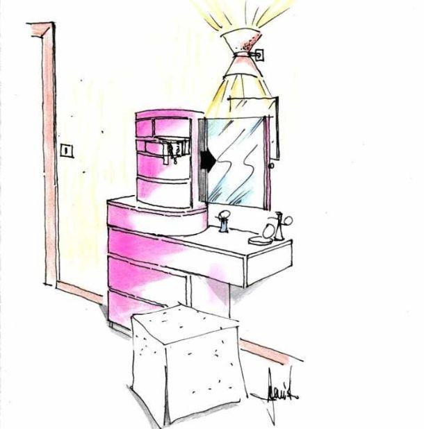 disegno per settimino trasformato in mobile toilette