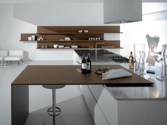 Cucina moderna su misura con tavolo a scomparsa