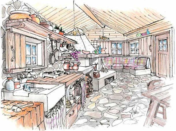 Cucina rustica idea di progetto for Disegni di baite