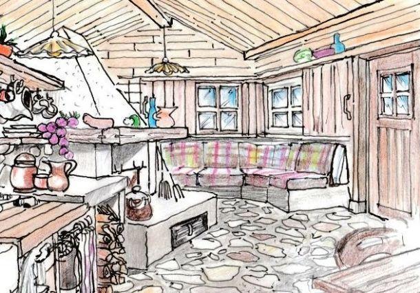 Camino e salotto in cucina rustica
