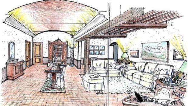 salone di 45 mq di una casa rurale come progettarlo