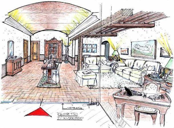 Soggiorno disegno Classico : Attrae gli sguardi la soffittatura che, nel suo complesso, appare ...