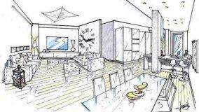 Progetto per soggiorno e zona cottura con pilastro