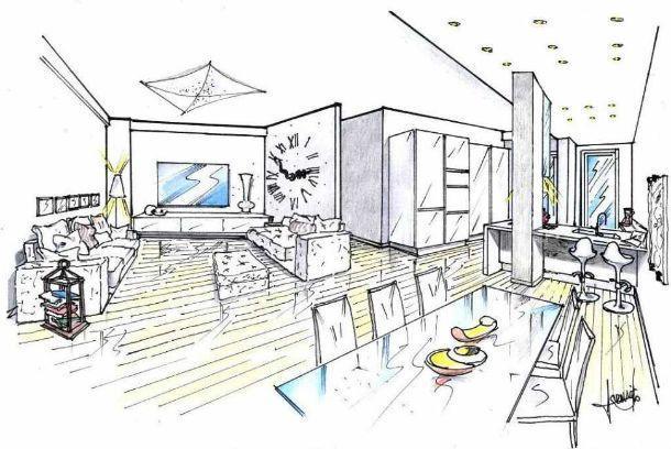 Soggiorno e angolo cottura con pilastro idea di progetto for Progettare un salone