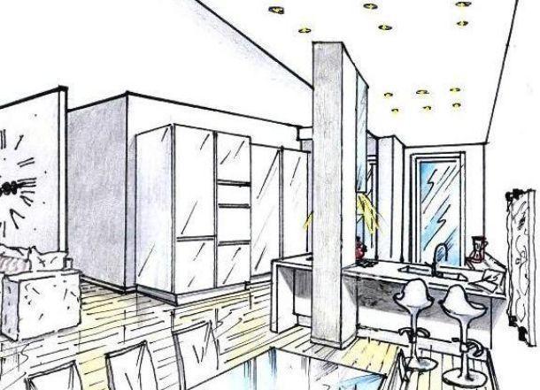 Soggiorno e angolo cottura con pilastro idea di progetto for Cucina open space con pilastri