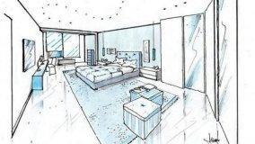 Progetto per un'ampia camera matrimoniale in azzurro