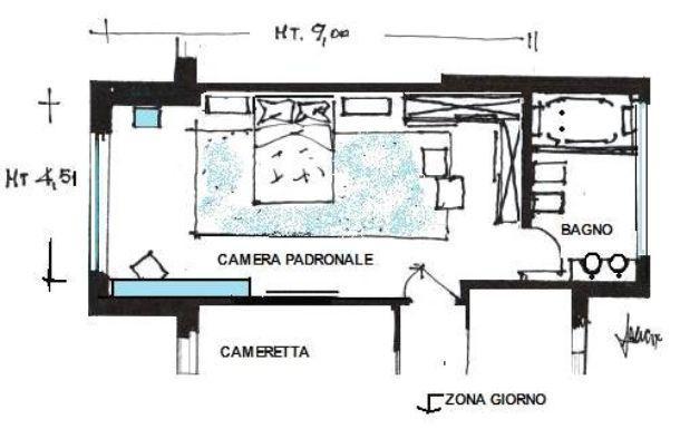 camera da letto di 40 mq: idea di progetto in azzurro - Progettazione Camera Da Letto