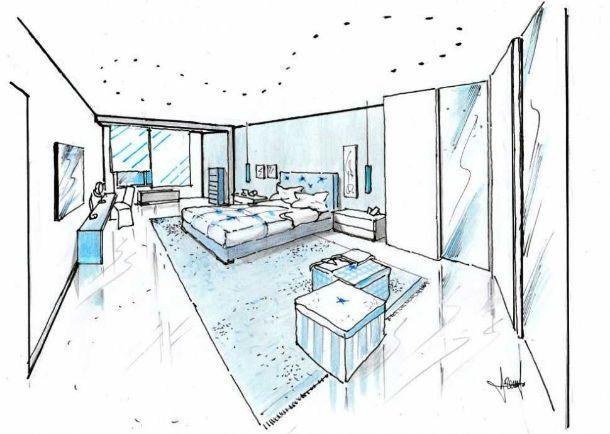 Camera da letto di 40 mq idea di progetto in azzurro - Progettare la camera da letto ...
