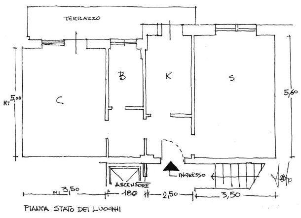 Appartamento 60 mq: pianta stato dei luoghi