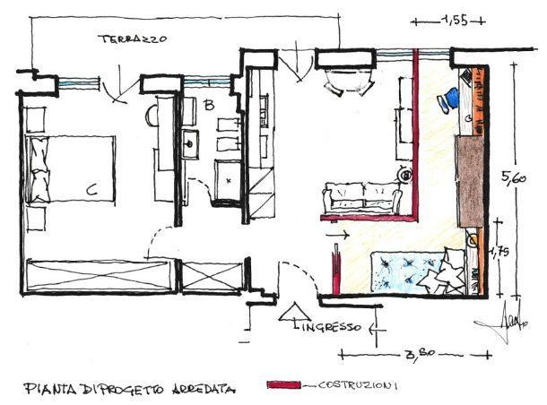 Pianta di progetto: cameretta ricavata dal soggiorno