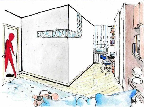 Disegno prospettico cameretta ricavata dal soggiorno