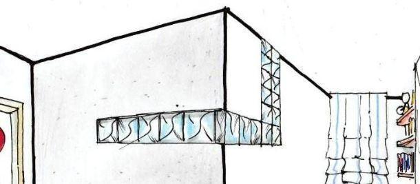 Vetromattone sulle due pareti angolari della cameretta