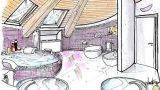 Bagno in mansarda: un progetto a pianta circolare