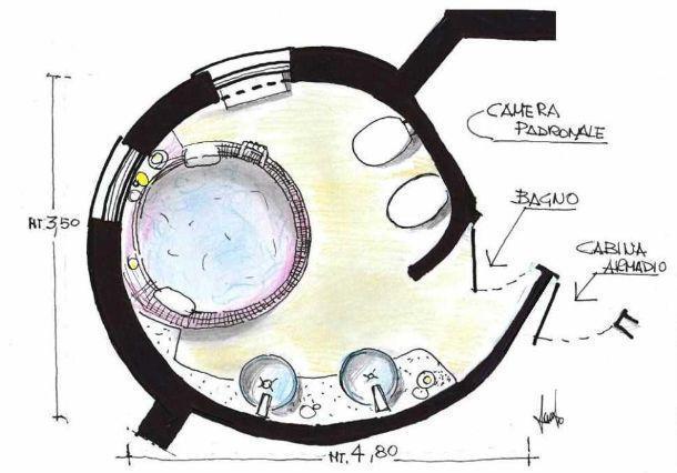 Bagno in mansarda un progetto a pianta circolare for Come progettare una pianta del piano interrato