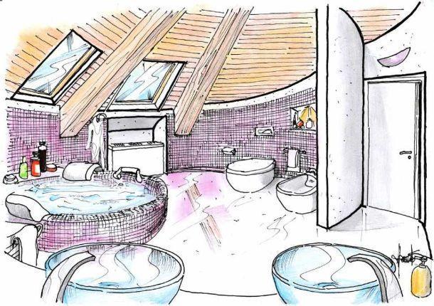 Disegno prospettico di bagno rotondo in mansarda