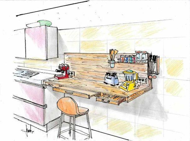 Mensola multifunzione come top di lavoro in cucina