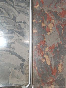 Due tipi di marmo artificiale a macchie.