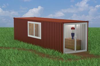 Progetto di container trasformato in monolocale.