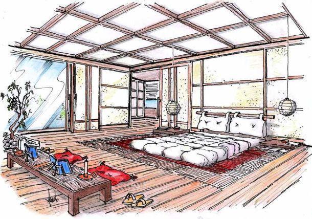 Disegno prospettico per camera da letto in stile orientale