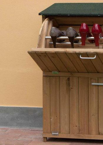 Mobili contenitori da giardino in legno idee creative e for Mobili esterno economici