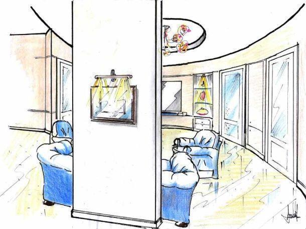 Disegno salone-disimpegno: visione campo