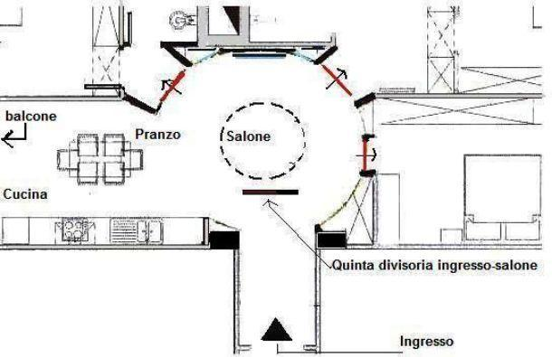 Pianta di progetto per salone-disimpegno semicircolare