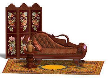 Alcuni tipici mobili e complementi di arredo in stile Biedermeier.