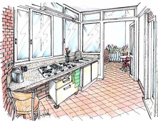 Angolo cottura in verandae progettarlo