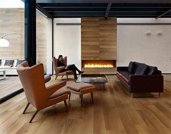 Pavimento in listoni di gres a imitazione del legno, dal catalogo dell'Azienda Ceramiche Caesar.