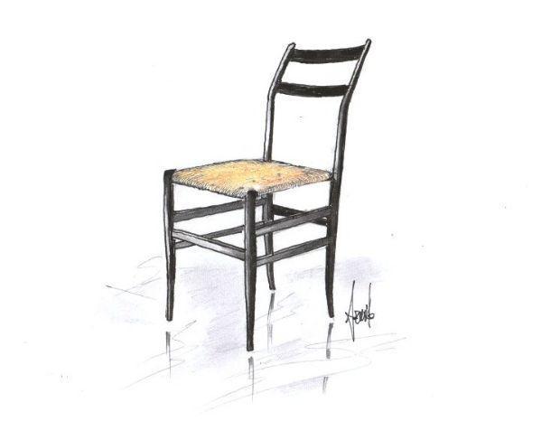 Disegno di sedia modello superleggera di Cassina