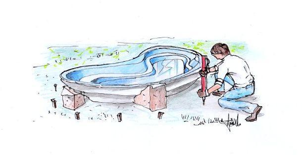 Disegno descrittivo di messa in opera vasca da giardino: prima fase