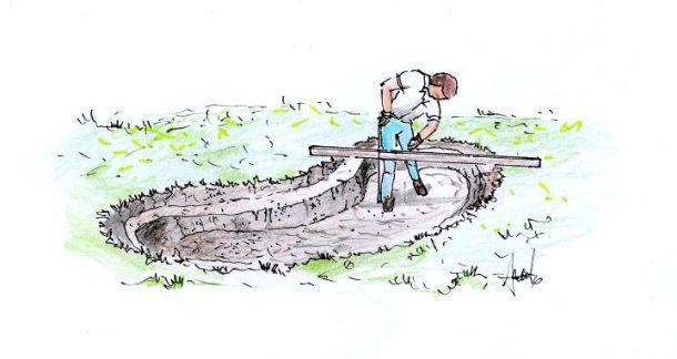Disegno raffigurante la fase di scavo per l'installazione di vasca rigida da giardino