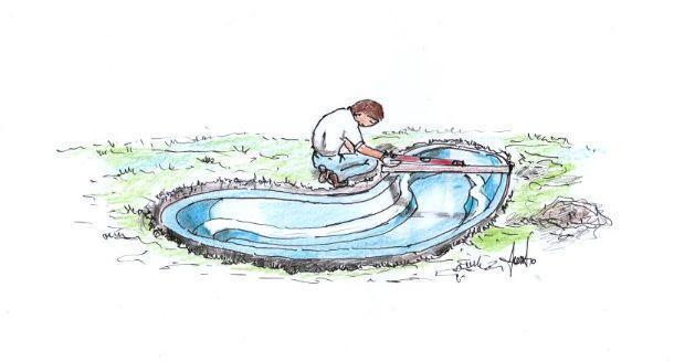 Disegno illustrante la fase di inserimento vasca e livellamento