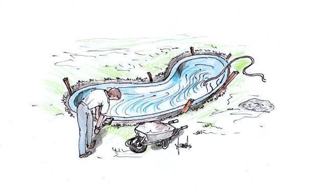 Disegno per ultima fase di bloccaggio vasca da giardino