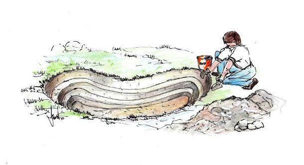 Fase di scavo per l'installazione di una vasca flessibile in giardino