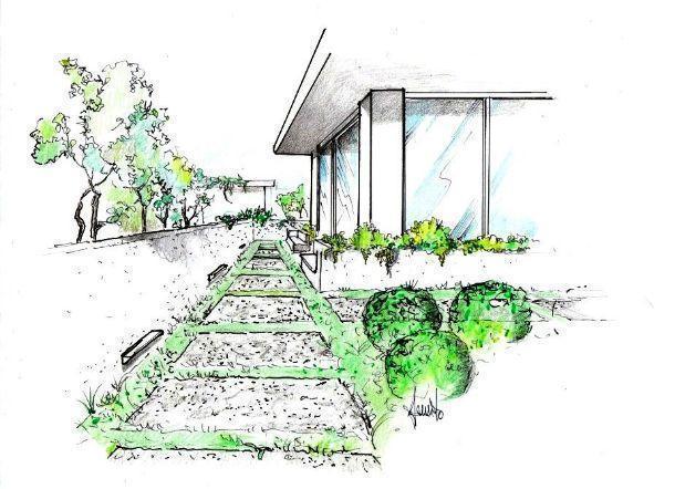 Disegno prospettico facciata villa con vialetto in giardino