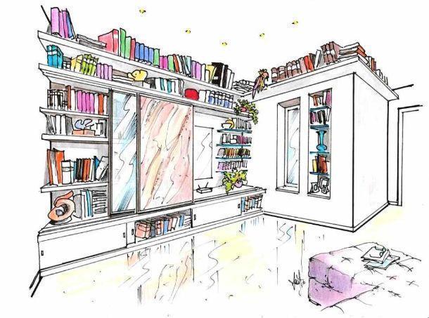 Disegno prospettico di libreria a muro attrezzata