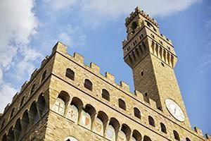 Il Palazzo Vecchio di Firenze, interamente costruito in pietra arenaria.