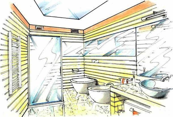 Disegno prospettico di bagno cieco con illuminazione solare