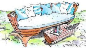 Arredi esterni: una barca da pesca trasformata in salotto
