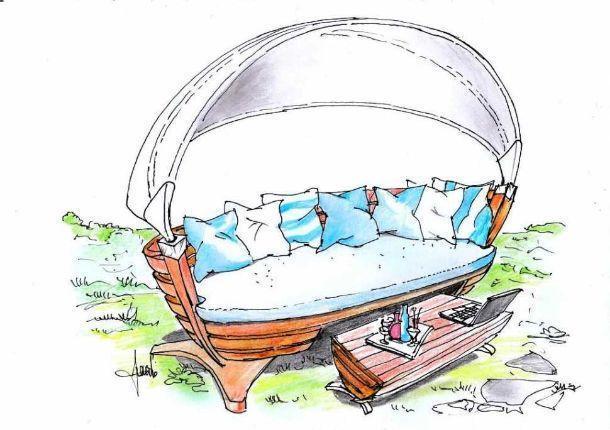 Disegno di salotto ricavato da una barca