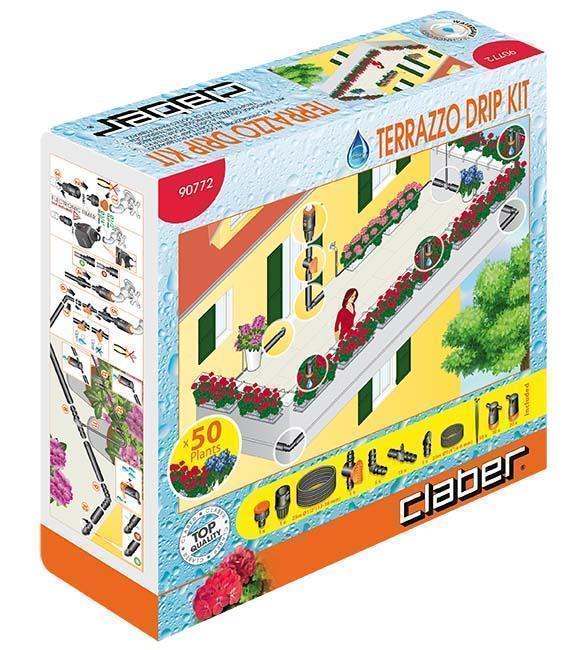 Terrazzo drip kit di Claber: packaging
