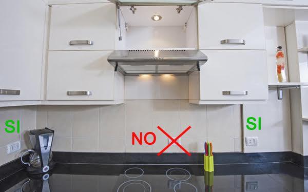 Prese elettriche su piani di lavoro in cucina for 4 piani di camera da letto a due piani