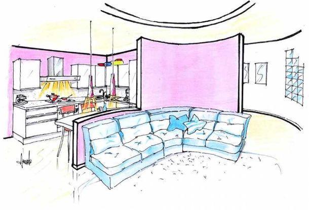 Disegno di pareti curve per separare le zone del living