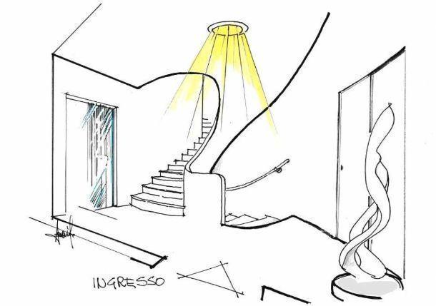Entrata e scale illuminate dal tubo solare