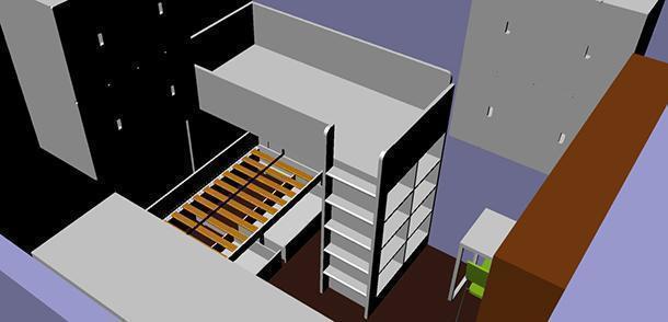 Particolare della sovrapposizione dei due letti e della struttura di soppalco con libreria integrata.