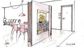 Interparete a forma di libro: idea di progetto