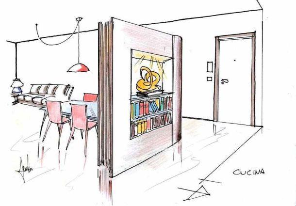 Interparete a forma di libro idea di progetto for Disegno del piano di soggiorno