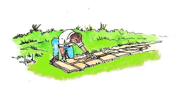 Costruzione primo strato per muretto da giardino