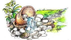 Piccola cascata con ciottoli in giardino: come costruirla